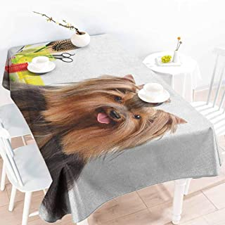 EwaskyOnline Fashions Rectangular Table Cloth,Yorkie Yorkshire Terrier with Stylish Hairdressing Equipment Mirror Scissors,Resistant/Spill-Proof/Waterproof Table Cover,W50x80L, Dark Brown Multicolor