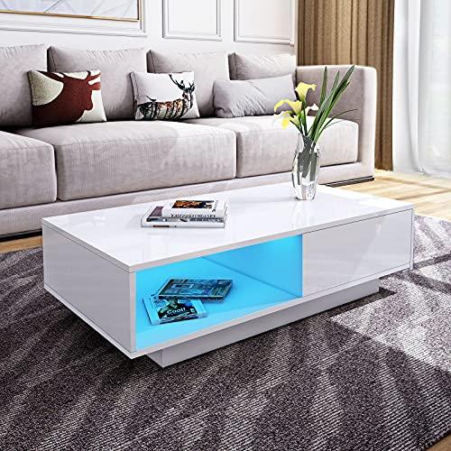 Senvoziii LED Table de Salon Moderne et élégante avec 1 Tiroirs de Stockage 1 Cas Ouverts Table Basse Brillant Blanche, Table de Canapé pour Le Salon 95 x 55 x 31 cm (Blanc)