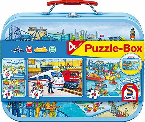 Schmidt Spiele 56508 Verkehrsmittel, 4 Kinderpuzzle im Metallkoffer, 2x26 und 2x48 Teile