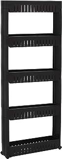 SPRINGOS Étagère mobile pour salle de bain 5 étagères Noir 131,5 x 54 x 12,5 cm