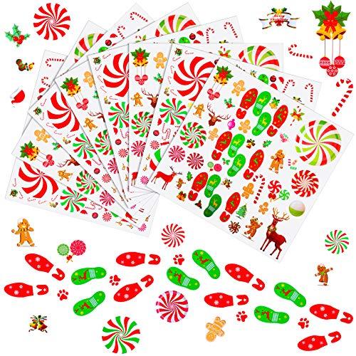 8 Blätter Pfefferminz Aufkleber Weihnachten Fußabdrücke Aufkleber Weihnachtsmann Süßigkeiten Rentier Abziehbilder für Boden Fenster Zähler Weihnachten Dekoration Party Haus Dekoration