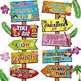 Jetec 20 Señales de Bienvenida de Fiesta de Luau Aloha, Decoraciones de Fiesta Temática de Verano Tropical Hawaiano Cartel Bienvenida de Fiesta Hawaiana de Puerta Principal con 4 Hojas Pegatinas