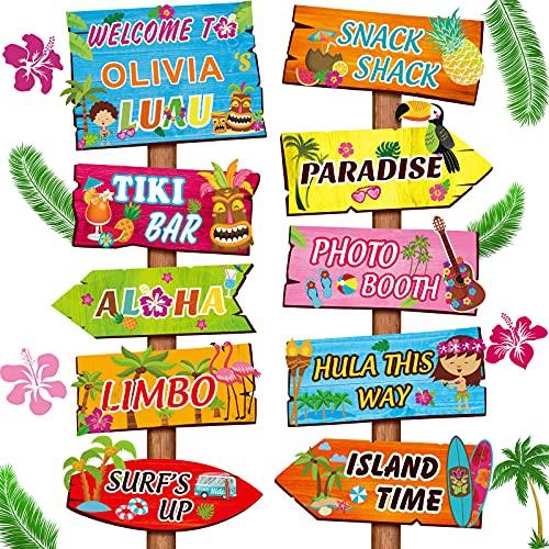 Jetec 20 Pezzi Segno di Benvenuto del Feste Luau Aloha, Decorazioni per Feste a Tema Estivo Tropicale Hawaiano Porta d'Ingresso con 4 Fogli Adesivi