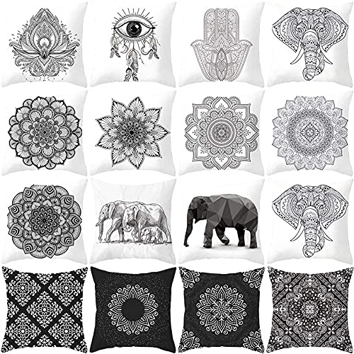 Fundas de cojines Funda de almohada con estampado de elefante blanco y negro Funda de almohada para el coche Funda de almohada para el sofá Impresión cuadrada decorativa para la oficina en casa Sofá