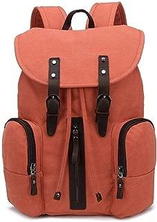 Full Color Canvas Men Traveling Laptop Back Bag Fashion Multi-Function Leisure Travel Bag (Color : Orange, Size : 22 inches)