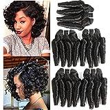 Molefi Brazilian Virgin Funmi Hair Bundles Spiral Curl Hair 5 Bundles Short Curly Weave 9A Unprocessed Brazilian Human Hair Extensions 50g/pc Full Head Natural Color (8inch 5Pcs)