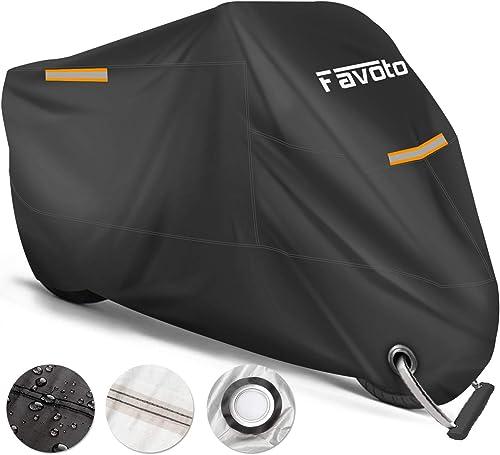Favoto Housse Protection pour Moto Couverture Polyester 210T Résistant aux déjections d'oiseaux, à l'eau, à la Poussi...