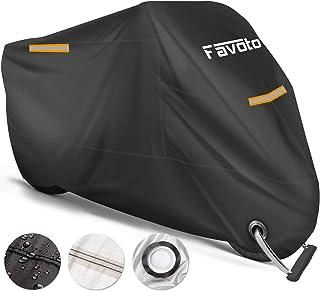 Favoto Funda para Moto Cubierta de la Motocicleta 210T Protectora Poliéster con Banda Reflectante a Prueba de UV Agua Lluvia Polvo Viento Nieve Excremento de Pájaro al Aire Libre XXXL 265cm Negro