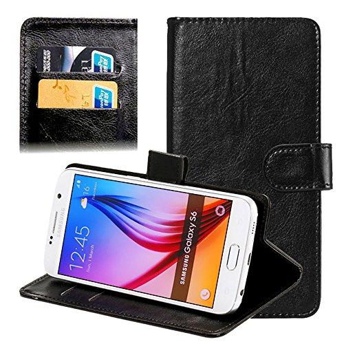 subtel® Handyhülle Universal Smart Cover kompatibel mit ZTE Blade L3, L3 Plus, L5, L5 Plus, L6, S6, V6, V7 Lite Hülle, Handytasche PU Leder Schutzhülle, Handyschutz Tasche schwarz