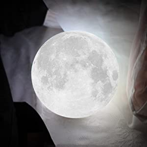 Moon Lamp,OXLHTS Moon Lamp for Kids,Led 3D Night Light with Stand Remote & Touch Control,Suitable for Bedroom Decor Cool Gadgets,Gifts for Teen Girls (2 Colors, 3.9 Inch)