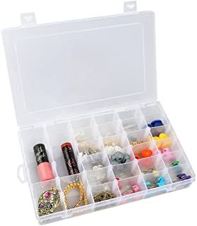 OULII Clear Plastic Jewelry Box Organizer Storage Container with Adjustable Dividers 36 Grids