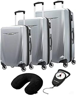 120751-1776 Winfield 3 DLX 3 Piece Set Spinner 20 Inch, 25 Inch, 28 Inch - Silver Bundle with Microbead Neck Pillow with Travel Pouch and Manual Luggage Scale