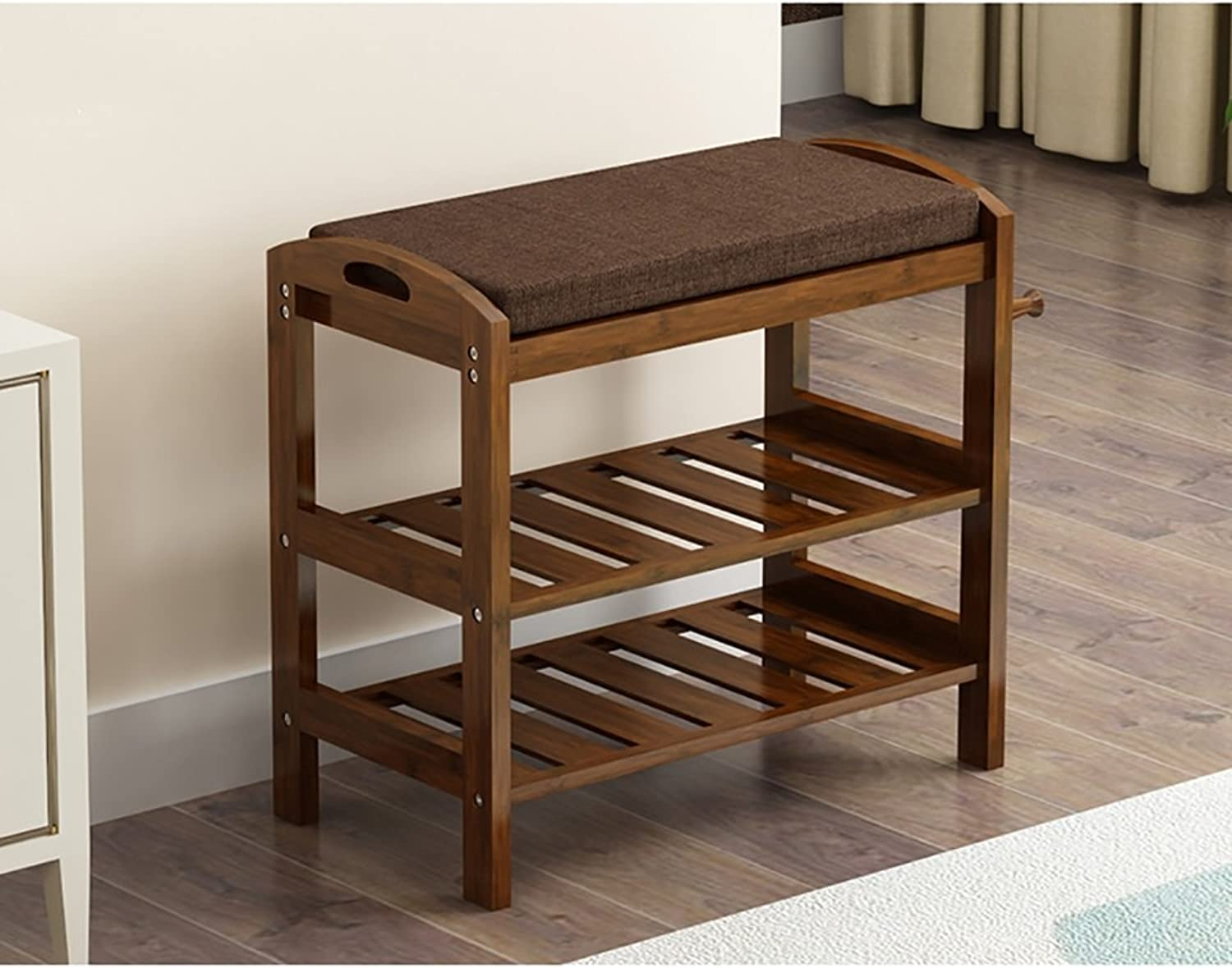 HHQ Premium Vintage Wooden shoes Organiser, Storage, Cabinet, Holder Bench Soft Seat Cushion Entryway, Hallway. (Size   A)