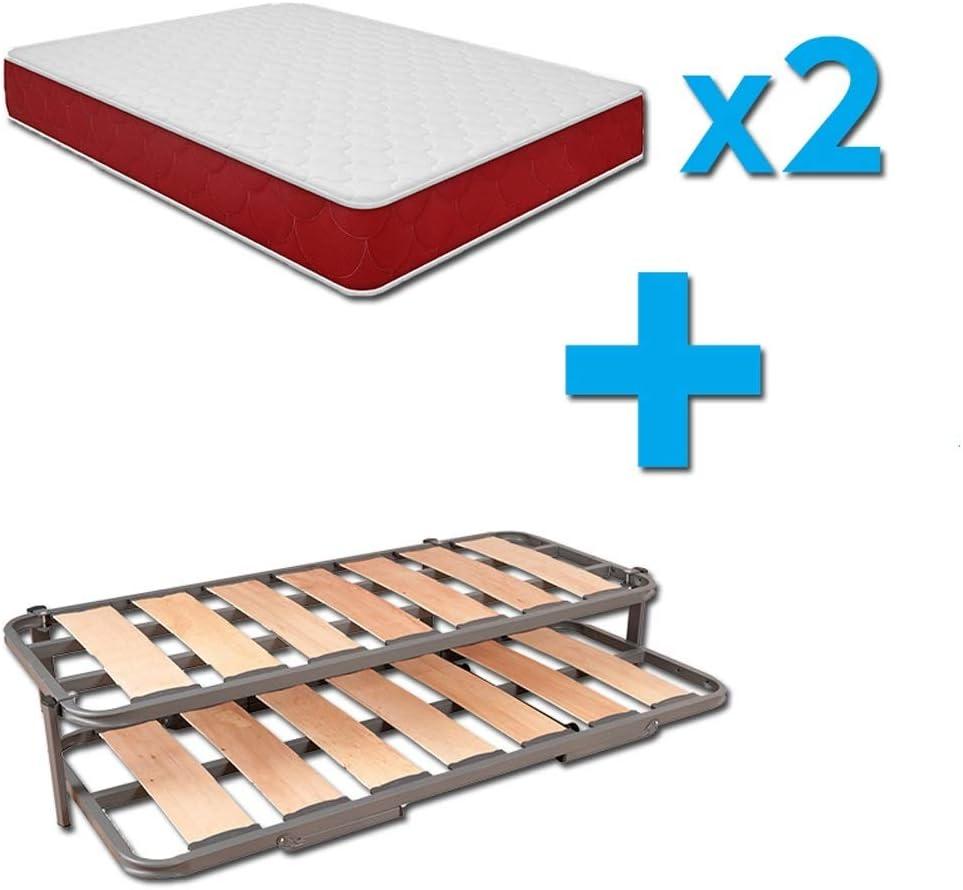 Duermete Cama Nido Completa Láminas Anchas Reforzada + 2 Colchones Viscoelásticos Reversibles (Cara Invierno-Verano), Sistema Anti-Ruido, 105 x 200