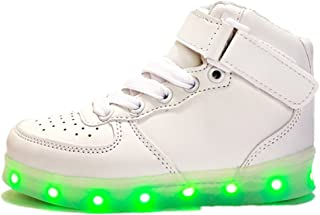 BY0NE LED Light up Shoes High Top Flashing Sneakers for Kids Boys Girls Perfect Gift