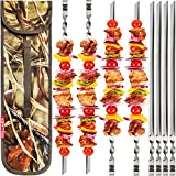 GRILLMER BBQ Skewers V-Shape 22' Shish Kabob Skewers Stainless Steel Long & Reusable Kabob Sticks Barbecue Skewers for Grilling Set of 8 Piece Large Heavy Duty Wide BBQ Sticks (22 Inch V-Shape)