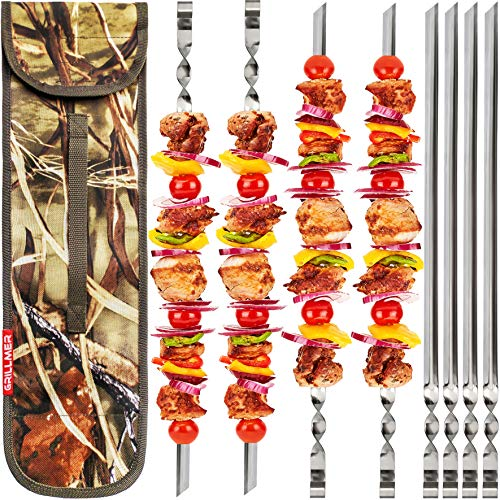 "BBQ Skewers 22"" Large【Upgraded】Shish Kabob Skewers Stainless Steel Long & V-Shape Reusable Kabob Sticks Barbecue Skewers For Grilling Set of 8 Piece Heavy Duty Wide BBQ Sticks Ideal for Shish Kebab"