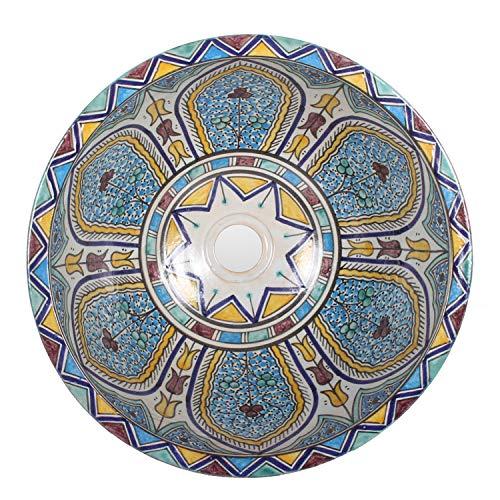 Mediterrane Keramik-Waschbecken Fes107 rund Ø 40 cm bunt Höhe 18 cm Handmade Waschschale   Marokkanische Handwaschbecken Aufsatzwaschbecken für Bad Waschtisch Gäste-WC   Top Dekoration