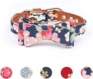 Leepets Dog Collar for Small Dog Puppy Cat with Adorable Bowtie Bandana Leash Durable PU Leather Padded Adjustable Buckle