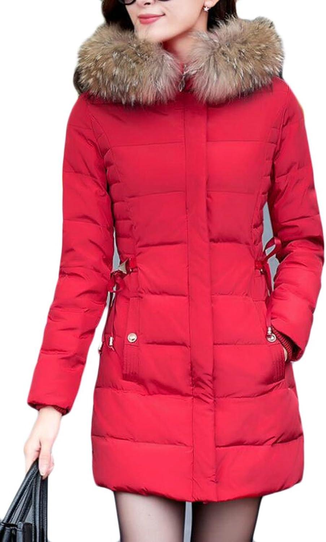 Sull Women's Fur Collar Slim Long Sleeve Puffer Down Overcoat Jackets