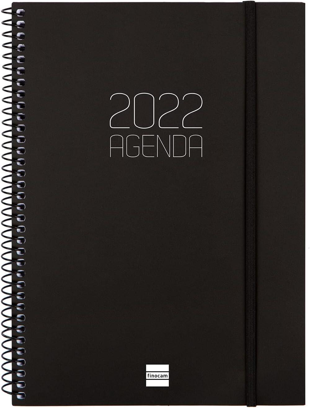 Finocam - Agenda 2022 semanal horizontal, de enero 2022 a diciembre 2022 (12 meses) E10 – 155 x 212 mm espiral mate negro italiano