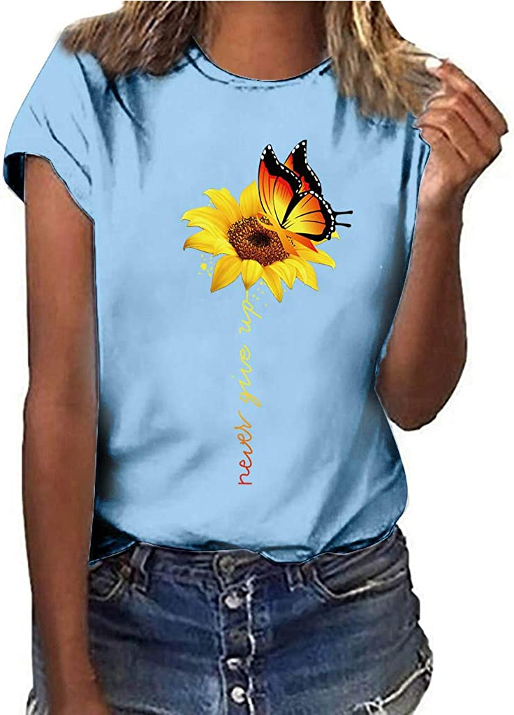 Women Plus Size Tops Sunflower Print Casual T-Shirt Short Sleeved Summer O Neck Blouse Butterfly Pattern Tees