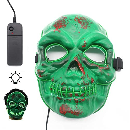 Máscara de Halloween para LED, Máscaras Adultos LED Mask para la Fiesta de Disfraces, mascarilla con luz Festival de máscara LED para Halloween, cosplay, disfraces de fiesta y accesorios de película