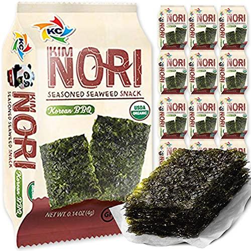 KIMNORI Seasoned Seaweed Snacks Sheets – Organic Korean BBQ Flavor 12 Individual Packs Roasted Crispy Premium 100% Natural Laver Kim Nori 4g 0.14 Ounce 김 のり 海苔 紫菜