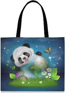 CaTaKu Panda Sac fourre-tout en toile pour femme et homme