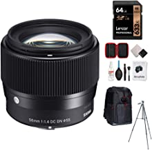 Sigma 56mm F1.4 DC DN C Contemporary Lens for Sony E-Mount Bundle with 64GB Memory Card, Camera Sling Backpack, All-in-One Cleaning Kit for DSLR Cameras and 60-Inch Video & Photography Tripod