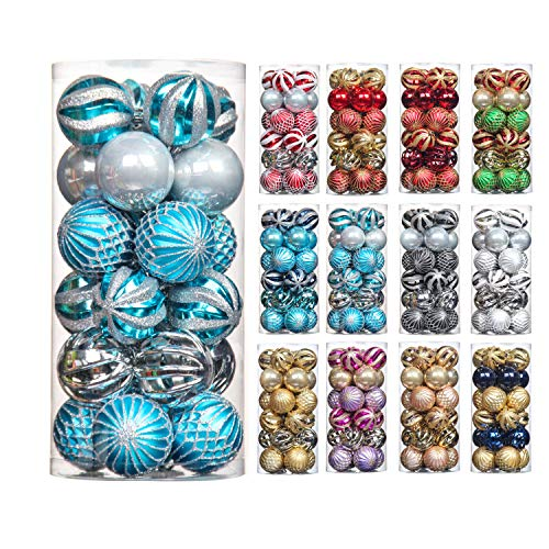 QinYing 24pcs Light Blue&Silver 2.36'/6cm Shatterproof Coloured Drawing Christmas Balls Ornaments Tree Hanging Balls Decoration for Hoilday Party Baubles Set with Hang Rope