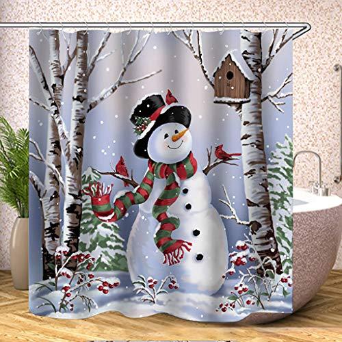 Huwaioury Weihnachts-Duschvorhang, wasserfest, Polyester 32