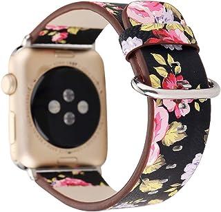 حزام ساعة جلد Tomepera متوافق مع Apple Watch Series 4 3 2 1 38 مم 40 مم، استبدال حزام طباعة الأزهار لساعة Apple Watch