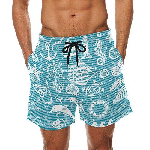COOSUN Nautical & Sea Icons Set Beach Board Shorts Sneldrogende zwembroek voor heren