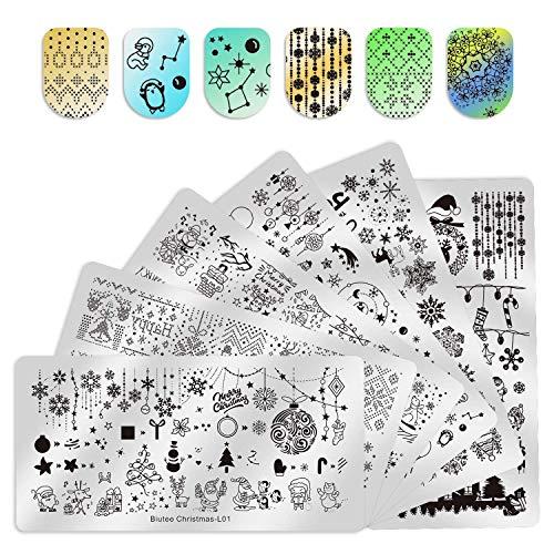Biutee 6Pcs Christmas Nail Template Nail Plate Nail Art Stamping Plates Set...