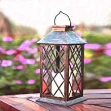 Hanging Solar Lantern Outdoor Waterproof Metewish LED Flickering Flameless Candle Solar Lights for Patio Garden Table