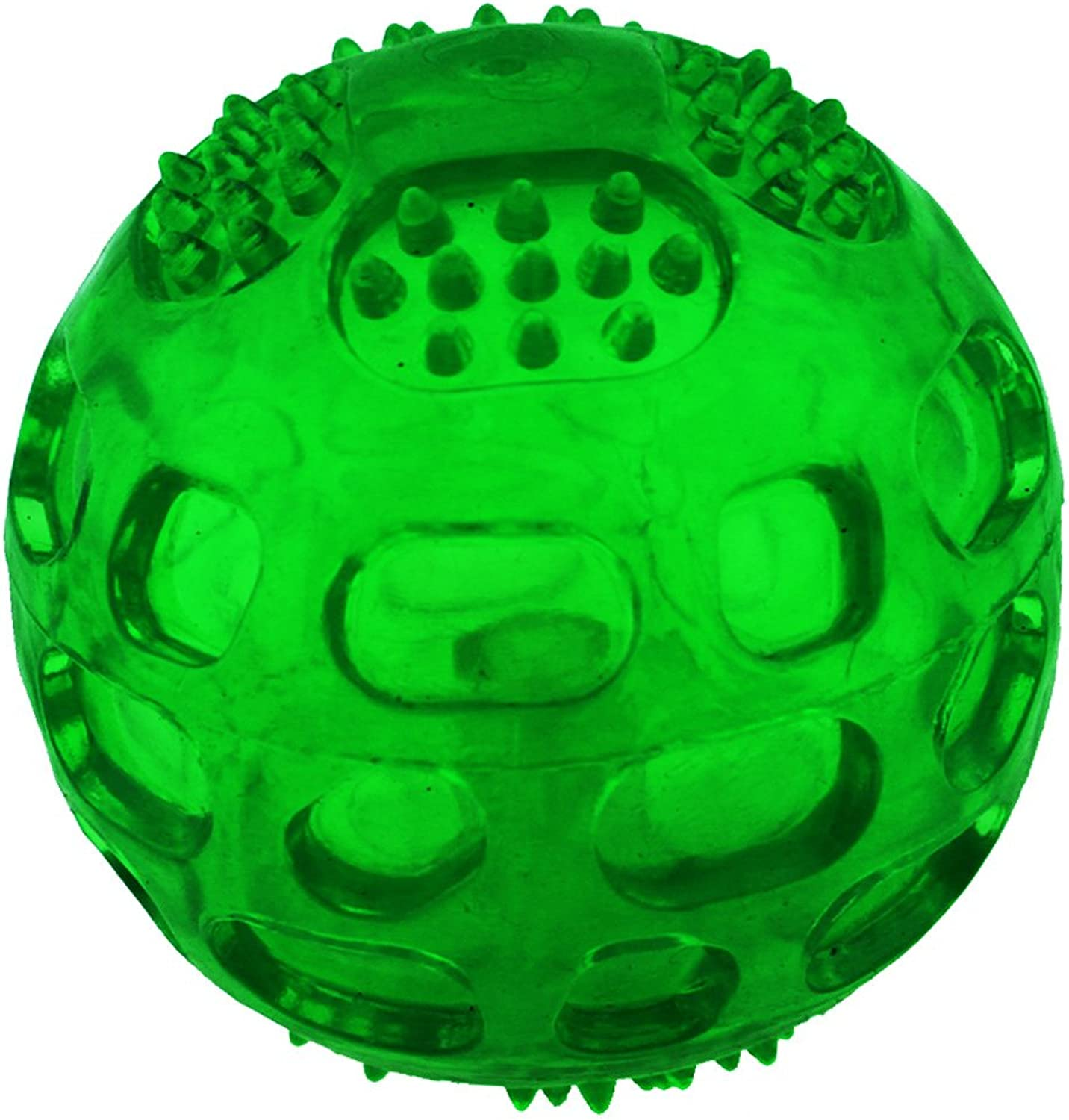 Aduck Pet Puppy Dog Squeaky Fetch Ball Toys [Meteorites Bouncy Series] Bite Resistant Squeeze Chew Toy for Aggressive Chewers [NonToxic Soft Rubber], Cute Crystal Green Ball Design  3.15 Inches