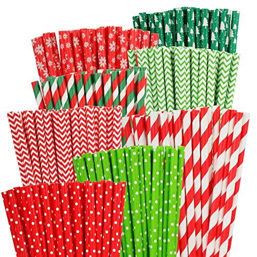 PATAZOK 200PCS Pajitas de Papel Navidad,Pajitas Navideñas Biodegradable Reciclables Rayas Colorido Bicolor Puntos Mezcla para Xmas/Fiestas/Boda/Celebración/Cócteles Decoración (8 Estilos)