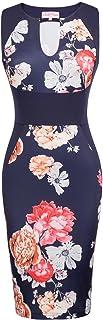 Belle Poque Women Vintage Floral Pattern Sleeveless V-Neck Pencil Dress BP431