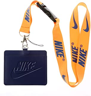 Nike Deep Blue Faux Leather Business ID Badge Card Holder with (Orange with Dark Blue) Keychain Lanyard