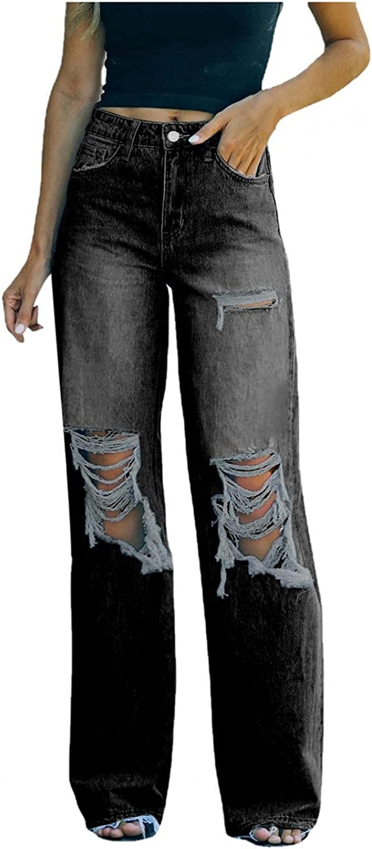 Aiouios Women's High Waist Boyfriend Jeans Stretch Baggy Wide Leg Ripped Denim Pants Casual Pocket Distressed Jeans Trousers