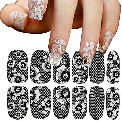 AIUIN 15 pièces stickers de ongles de dentelle blanc ultra fin Transparent de clouer Tip Guides Autocollants Set avec ongles de manucure