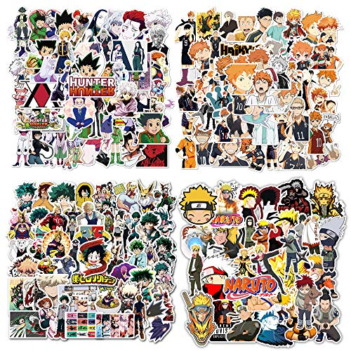 200 Stück Anime Aufkleber, Gemischte Naruto Aufkleber Hunter x Hunter Aufkleber My Hero Academia Aufkleber Haikyuu Aufkleber Vinyl Skateboard Laptop Aufkleber für Teenager Cartoon Aufkleber