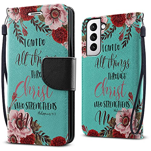 FINCIBO Fashionable Flap Wallet Pouch Cover Case, Card Holder Kickstand Compatible with Samsung Galaxy S21 6.2 inch 2021 - Christian Bible Verses Philippians 4:13