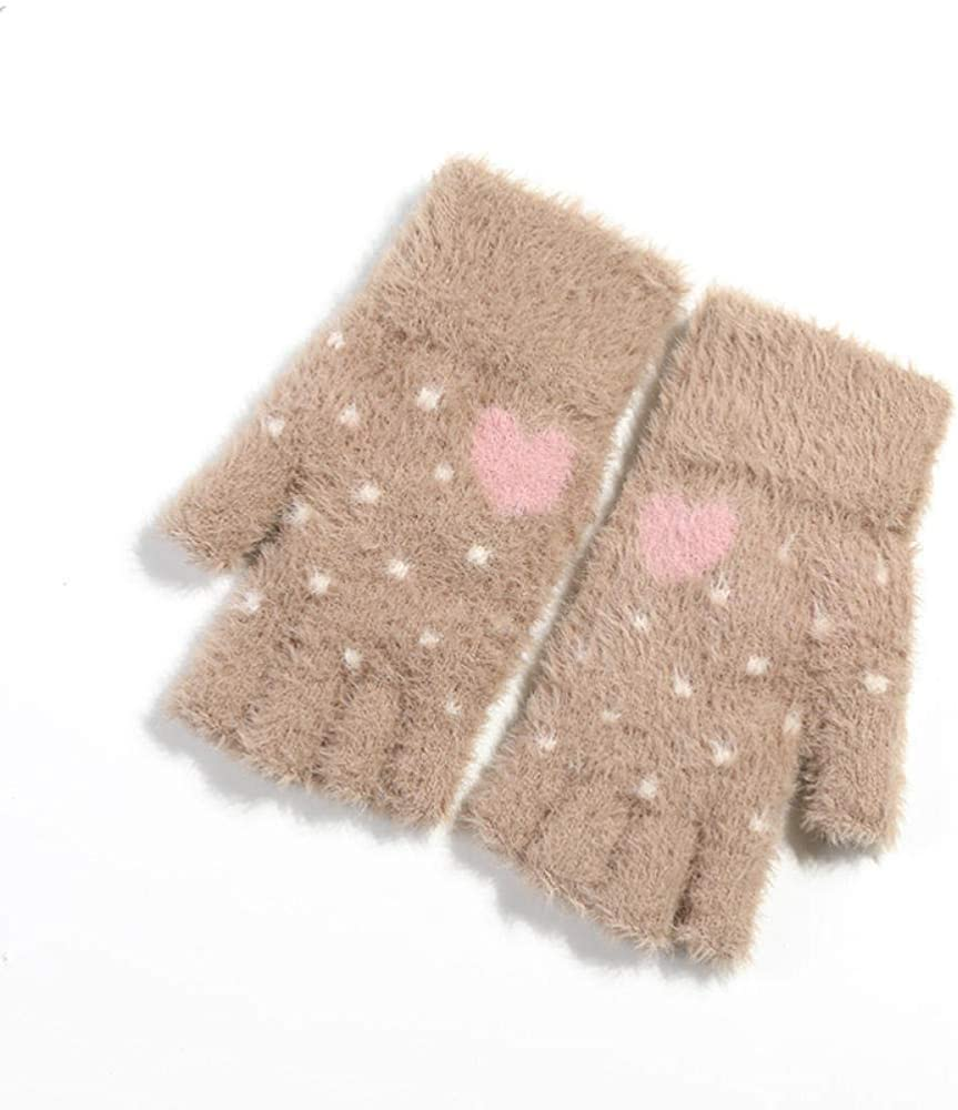 Women's Cold Weather Gloves Knitted plush wrist lock temperature outdoor plus velvet touch screen love half finger