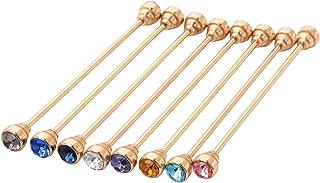 OBONNIE 8PCS Gold Tone Men's Tie Pins Necktie Tie Clip Cravat Pin Round Collar Crystal Brooch