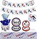 PIXHOTUL Hockey Party Supplies - Ice Hockey Themed Party Pack for Kid's Hockey Fans Birthday Gameday - Including Including Plates, Cups, Napkins, Tableware, Tablecloth, Banners, Serves 20 (A)