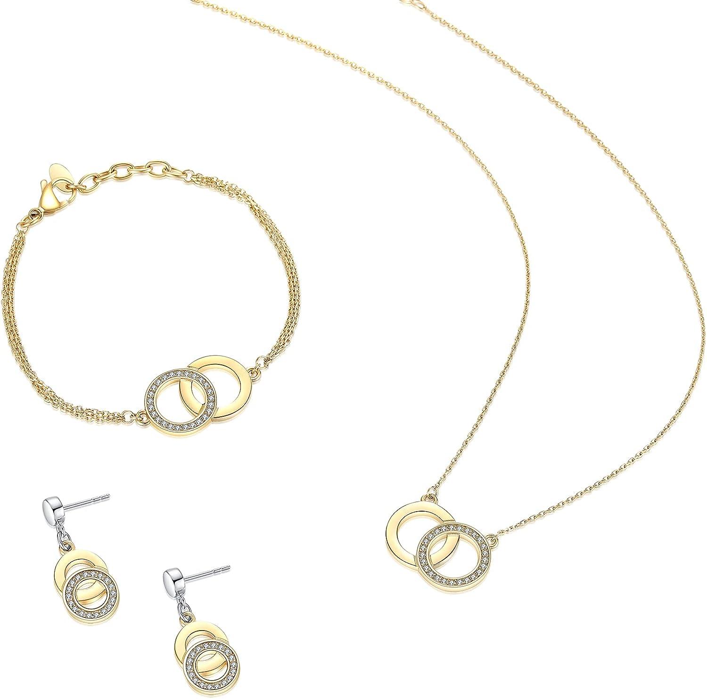 SIUMAL Women's Jewelry Set, Necklace Earrings Bracelet, Gift for Mom Wife Girl Her Birthday Gift