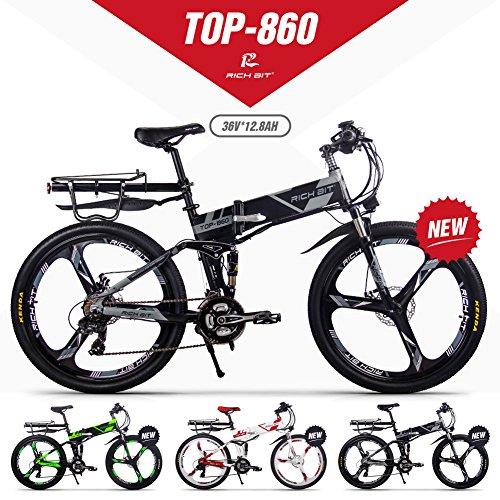 GUOWEI Rich Bit RT-860 36V 12.8AH 250W Bicicletta elettrica Pieghevole a Sospensione Completa City Bike (Black-Gray)