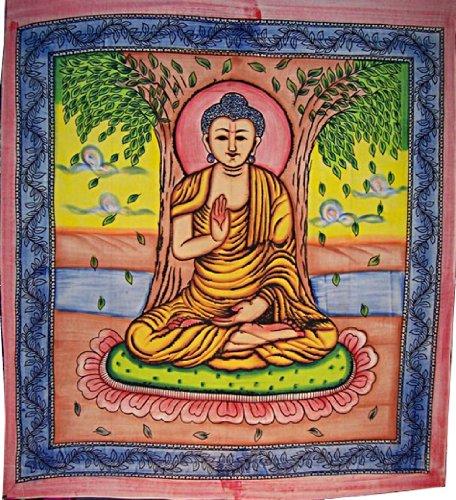 Bunte Buddha Tagesdecke 240x210cm Baumwolle Corti...